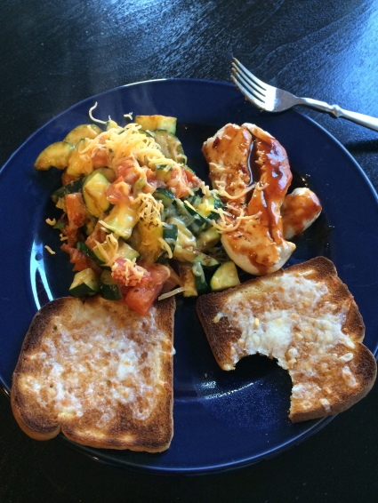 Vegetable Hash and Garlic Bread