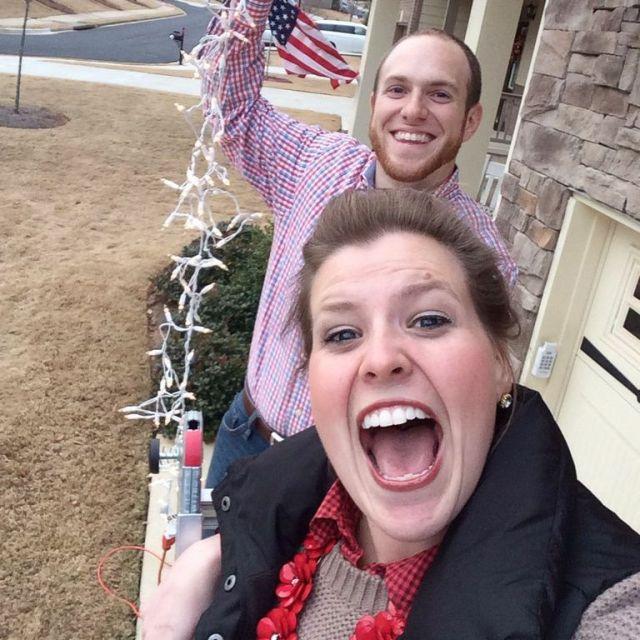 Hanging Twinkly Lights Selfie